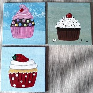 "3 Mini Cupcakes Hand Painted Art by Me 4"" × 4"" ea."